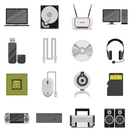 icono computadora: Ordenador portátil y el ordenador con los componentes y accesorios y dispositivos iconos planos conjunto aislado ilustración vectorial Vectores