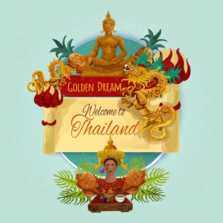 buddha: Welcome thailand promo poster with cartoon touristic symbols vector illustration