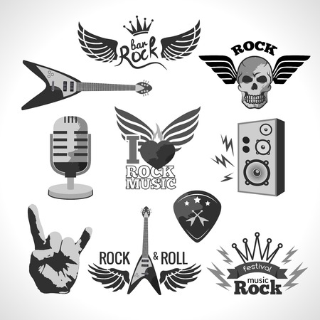 hard rock: Rock and roll music black emblems and elements set isolated vector illustration