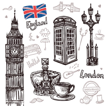 London sketch set with tea cup queen crown telephone booth isolated vector illustration