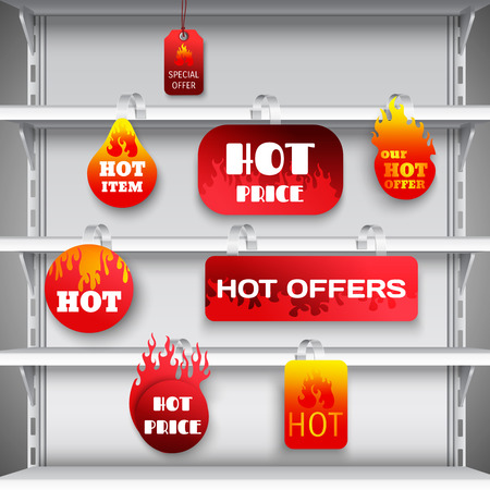 aisle: Hot sale clearance discount prices red  wobblers on empty department store display racks advertisement realistic vector illustration