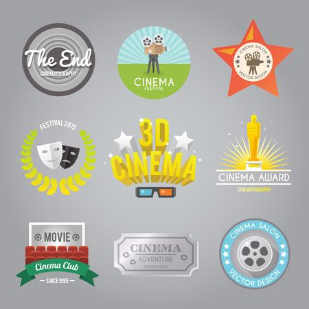 cinta pelicula: Cine club de película del festival de cine 3d etiquetas ganador del premio de estilo retro pictogram aislado abstracta ilustración vectorial Vectores