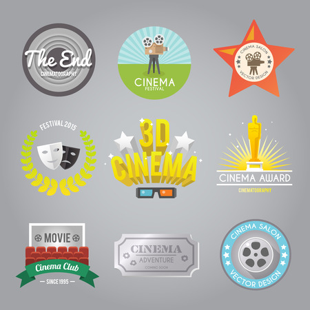 Cinema movie club 3d film festival award winner retro style labels pictogram set abstract isolated vector illustration