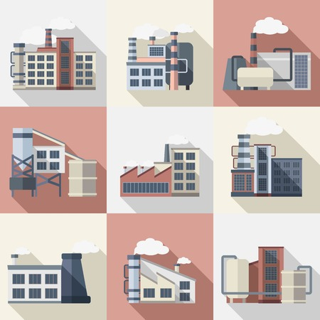 power plants: Industrial buildings and power plants flat long shadow icons set isolated vector illustration Illustration