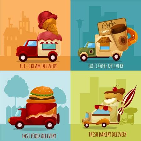 tiendas de comida: Mobile tiendas de alimentos y helados de café caliente de panadería fresca iconos de dibujos animados entrega establecida aislado ilustración vectorial