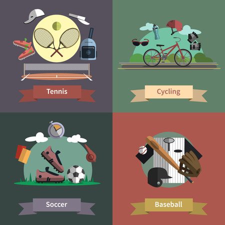 tours: Tennis cycling baseball soccer outdoor sport active lifestyle 4 flat icons composition banner abstract  vector isolated illustration Illustration