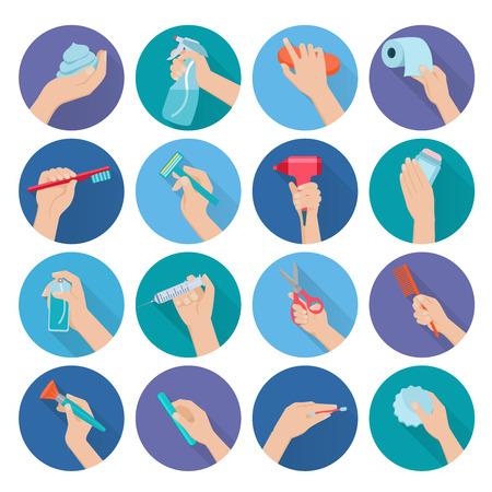 aseo: Mano que sostiene la higiene personal de objetos iconos planos establecer ilustración vectorial aislado