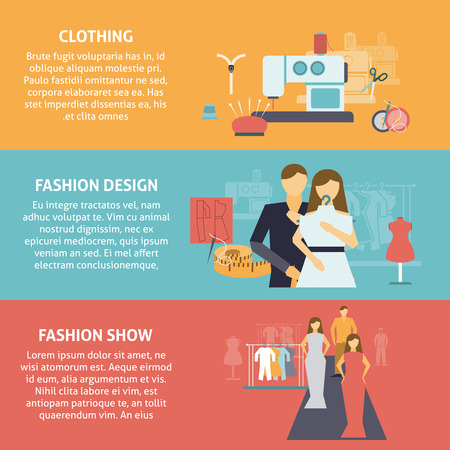 designer clothes: Clothes designer horizontal banners set with clothing production fashion design and show flat isolated vector illustration
