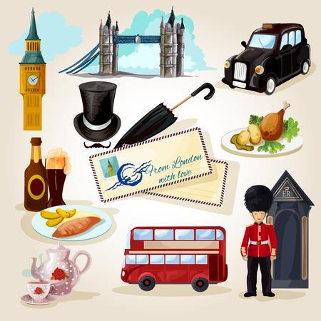 bus anglais: Londres ic�nes d�coratifs fix�s avec des rep�res de dessins anim�s et des symboles touristiques isol�s illustration vectorielle