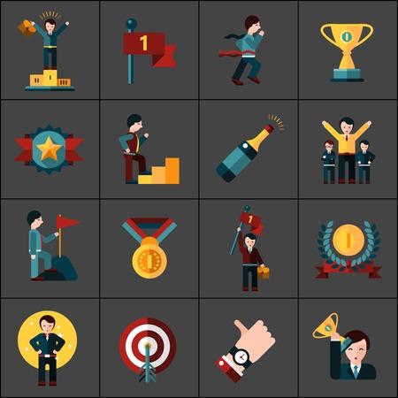 Iconos planos Éxito establecen con aislados campeón recompensa trofeo champán ilustración vectorial Ilustración de vector