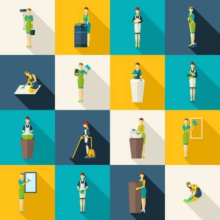 hoover: Cleaners in work with tools and equipment color with shadows flat icons set isolated vector illustration Illustration
