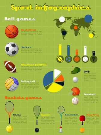 symbol sport: Sport Infografiken mit Spielbällen und Ausrüstung und Grafiken Vektor-Illustration festgelegt