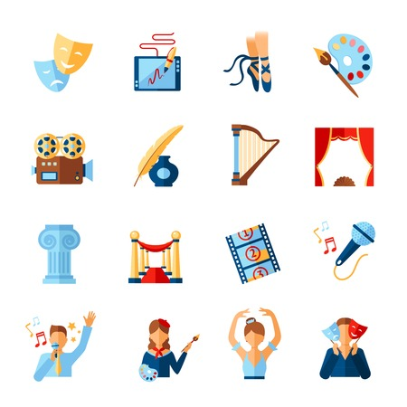 literature: Art and culture icons set with theatre literature cinema symbols isolated vector illustration
