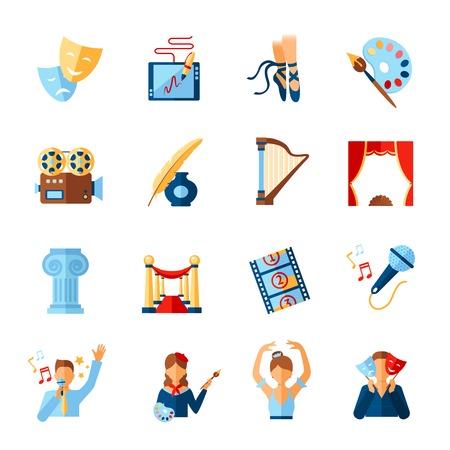 literatura: Arte y cultura iconos conjunto con símbolos literatura teatro cine aislado ilustración vectorial