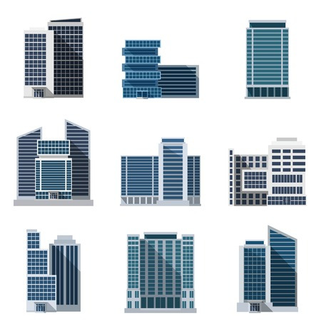 Office buildings and business centers flat icons set isolated vector illustration Vettoriali