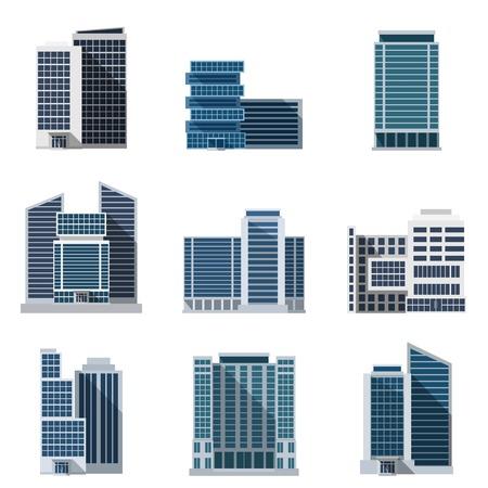 construccion: Los edificios de oficinas y centros de negocios iconos planos conjunto aislado ilustraci�n vectorial Vectores