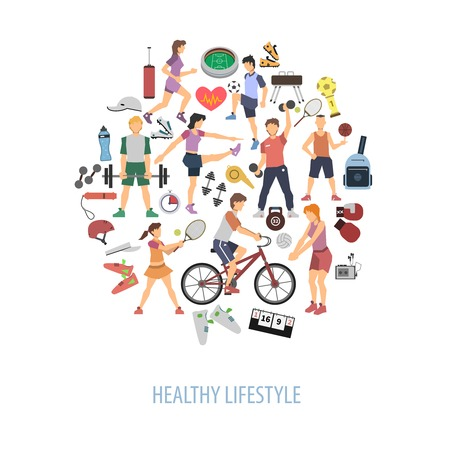 healthy woman: Healthy lifestyle concept with people playing sport games flat vector illustration