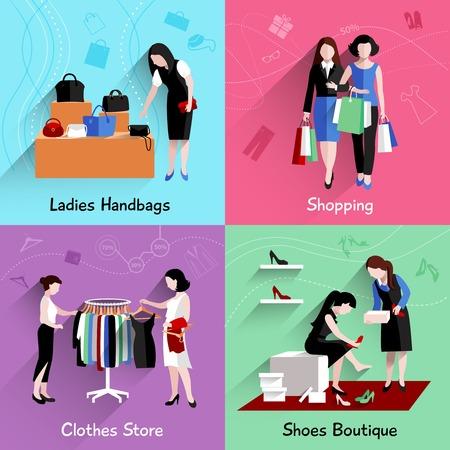 comprando zapatos: Compras de la mujer concepto de diseño conjunto con los bolsos de ropa y tiendas de zapatos iconos planos ilustración vectorial