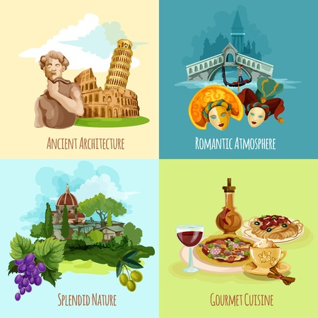 wine and food: Italy touristic design concept set with architecture nature and cuisine cartoon icons isolated vector illustration
