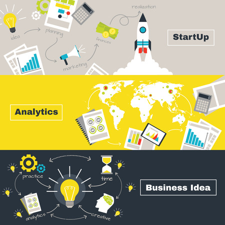 lamp: Business project concept with idea analytics and startup horizontal banners flat isolated vector illustration