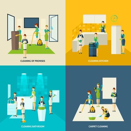 cocina limpieza: Cocina y ba�o de limpieza de alfombras concepto de dise�o con la mujer figuras iconos planos conjunto aislado ilustraci�n vectorial Vectores
