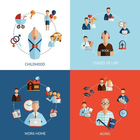 vida social: Etapas del concepto de diseño de la vida establecen con la infancia y el envejecimiento de iconos planos aislados ilustración vectorial