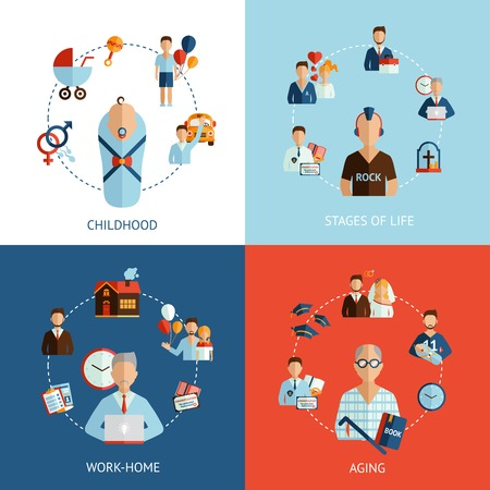 life and death: Stages of life design concept set with childhood and aging flat icons isolated vector illustration