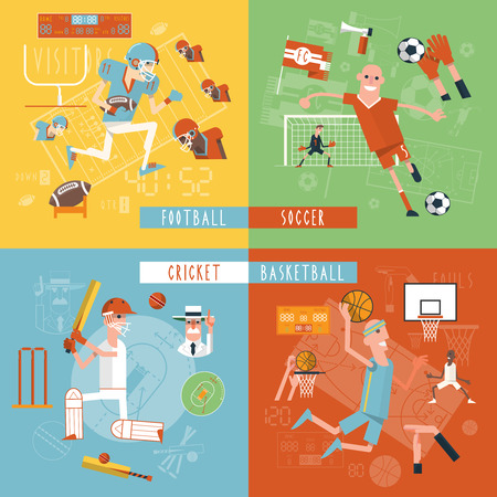 American football basketball soccer and cricket matches 4 flat icons composition square banner abstract isolated vector illustration