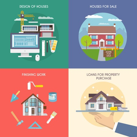 buy house: House design concept set with property purchase and building flat icons isolated vector illustration Illustration