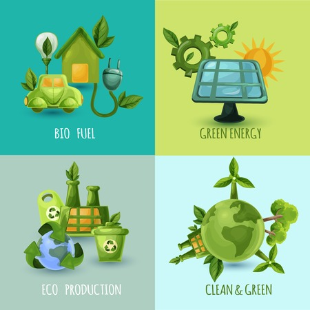 tree world tree service: Ecology design concept set with bio fuel green energy eco production cartoon icons isolated vector illustration Illustration