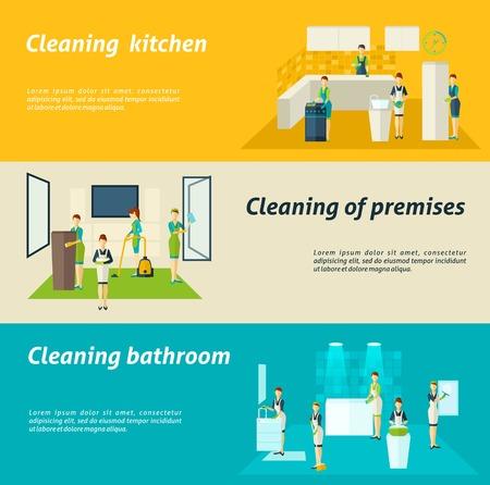 cocina limpieza: Locales de cocina y lavado de limpieza ba�o de color y limpiando banners horizontales planas conjunto aislado ilustraci�n vectorial