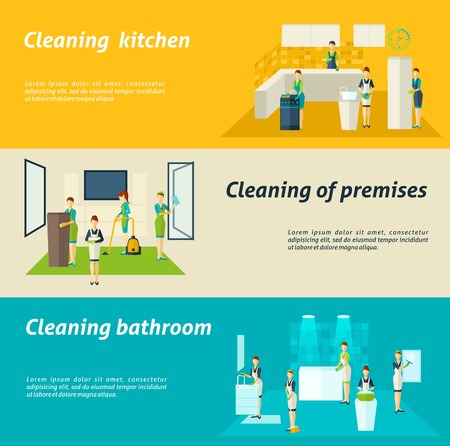 hoover: Premises kitchen and bathroom cleaning washing and wiping color flat horizontal banners set isolated vector illustration Illustration