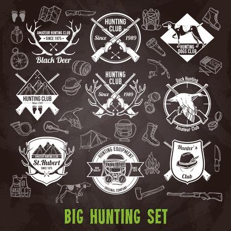 cazador: Caza etiquetas del club y iconos de la pizarra conjunto aislado ilustración vectorial Vectores