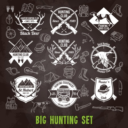 hunt: Hunting club labels and icons chalkboard set isolated vector illustration Illustration