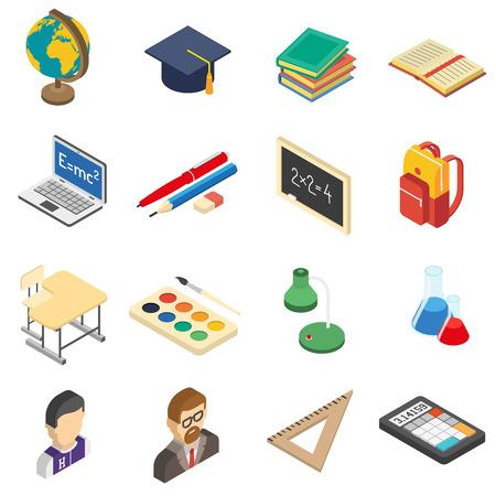 calculadora: Accesorios de educaci�n Escuela iconos isom�tricos establecidos con la calculadora y r�plica en la qu�mica aislado abstracta laboratorio de ilustraci�n vectorial