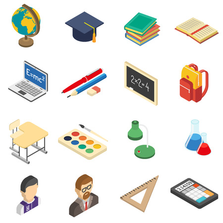 school bag: School education accessories isometric icons set with calculator and retort in chemistry lab abstract isolated vector illustration