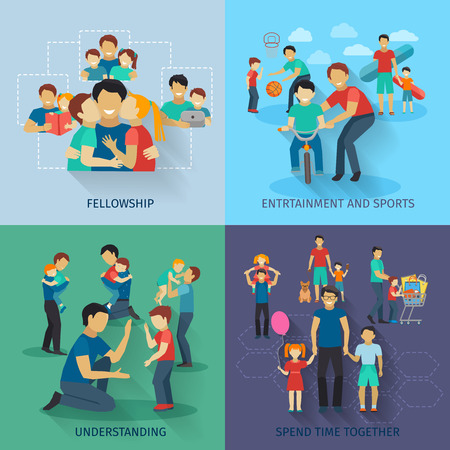 fatherhood: Fatherhood design concept set with fellowship sports and entertainment flat icons isolated vector illustration Illustration