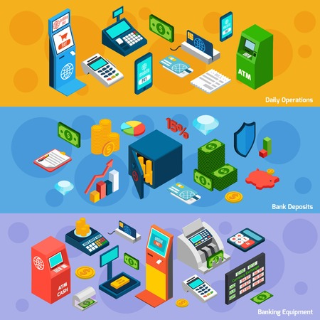 Banking horizontal banner set with daily operations deposits and equipment isometric elements isolated vector illustration