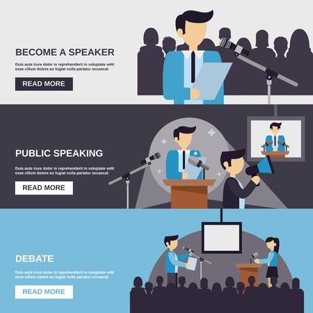 hablar en publico: Bandera Hablar en público conjunto con elementos de debate aislado ilustración vectorial