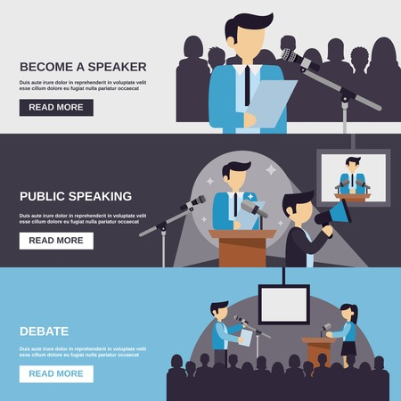 Public speaking banner set with debate elements isolated vector illustration Illustration