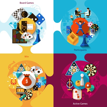 Games design concept set with board table active sport flat icons isolated vector illustration