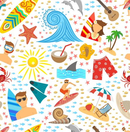 beach wrap: Surfing vacation and tropical beach symbols seamless pattern vector illustration Illustration