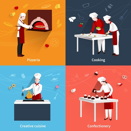Cooking design concept set with pizzeria creative cuisine and confectionery flat icons isolated vector illustration