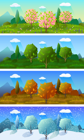 Alpine meadow landscape of the four seasons 4 horizontal banners set abstract isolated vector illustration Illustration