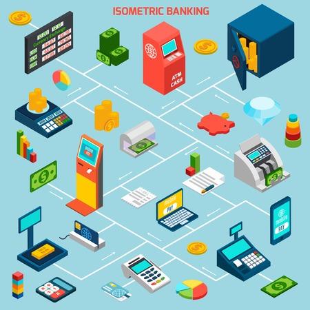 to cash: Diagrama de flujo de la banca isométrica con cajeros automáticos y flechas ilustración vectorial