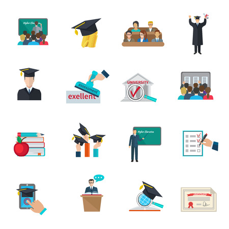Higher education and graduation with cloaks and academic caps icons set flat isolated vector illustration Illustration
