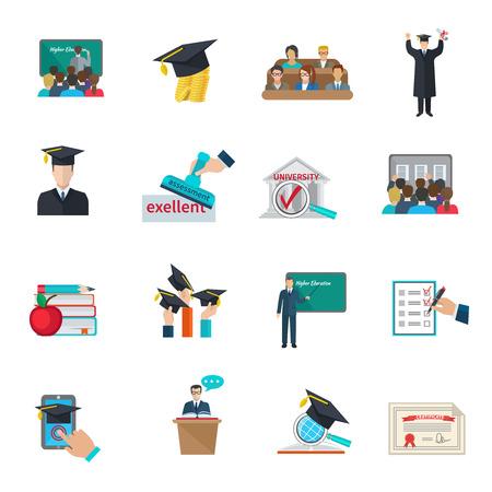 akademický: Vysokoškolské vzdělání a promoce se plášťů a akademickými čepice ikony set ploché izolované ilustrace