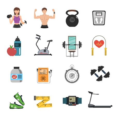 Gym tools and fitness nutrition icon flat set isolated vector illustration