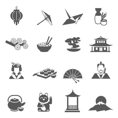 ronin: Japan symbols gray silhouette flat icon set isolated vector illustration