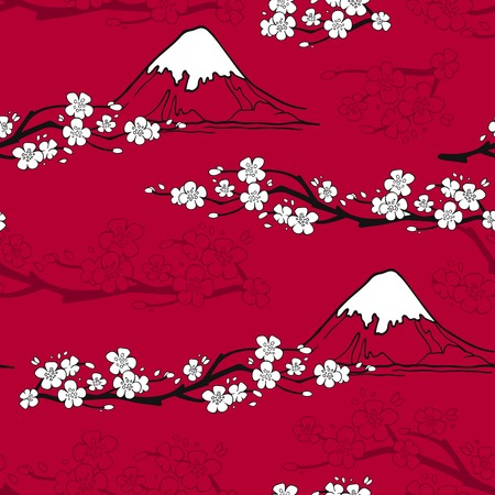 Japanese seamless pattern with sakura blossoms and fuji mountains vector illustration Çizim